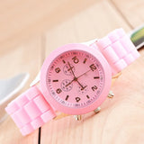 Trending Unisex Casual Pink Round Dial Quartz Women Analog Silicone Strap Sports Wrist Watches