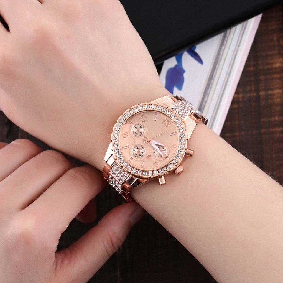 Trending Platinum New Luxury Brands Studded Stones Crystal Stainless Steel Quartz Analogue Rose Gold Round Dial Women's Watch