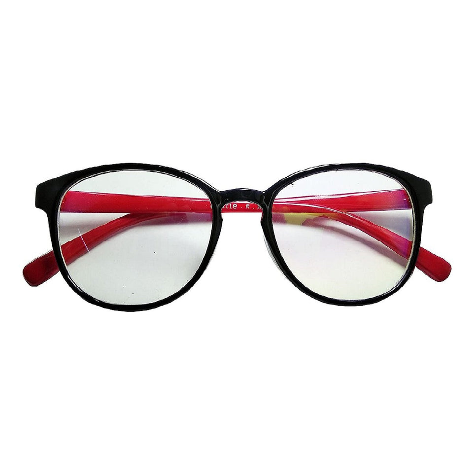 Trending UV Protection Clear Round Black and Red Men's and Women's Sunglass Frame