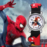 Trending Sale 3D Rubber Strap Spiderman Children Watch Kids Cartoon Sports Quartz Wrist watch for Boys Clock