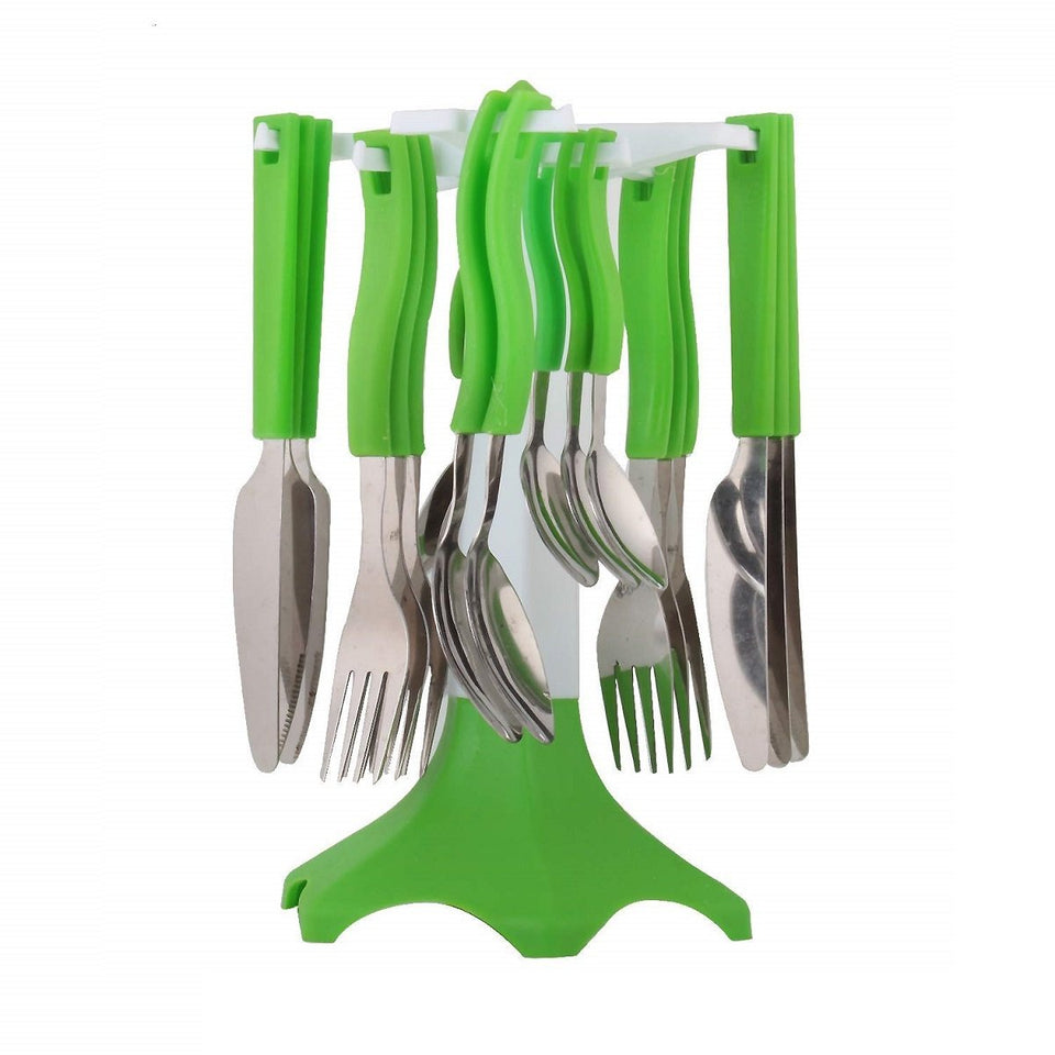 Trending Quality Stainless Steel Cutlery Set with Free Butter Knife- 26 cm x 15 cm x 15 cm, Set of 25