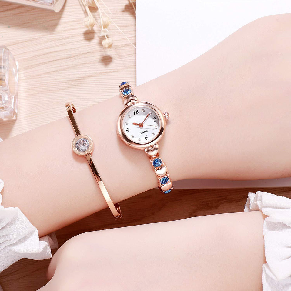Fashion Best Quality Trending Sale Party-Wedding Formal Casual Rose Gold Strap Blue Stone Diamond Watch for Girls Analog Watch - For Women