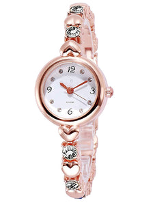 Fashion Best Quality Trending Sale Party-Wedding Formal Casual Rose Gold Strap White Stone Diamond Watch for Girls Analog Watch - For Women