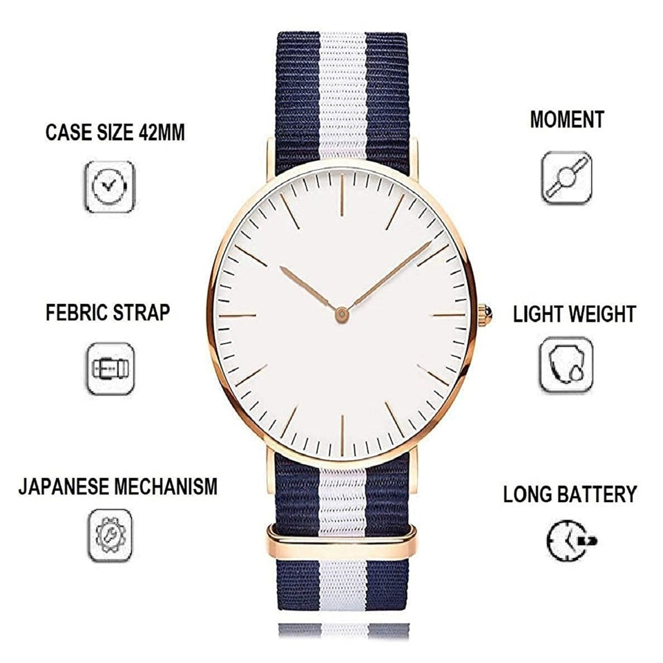 Trending High Quality Luxury  Women Stylish Nylon Belt Bracelet Unisex Simple Fashion Quartz Watch Gold Wristwatch Clock Dress