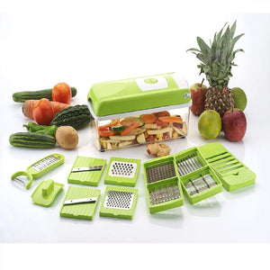 Trending Fruit Chipser With 12 Blades + 1 peeler inside, vegetable chopper, vegetable slicer, (GREEN)