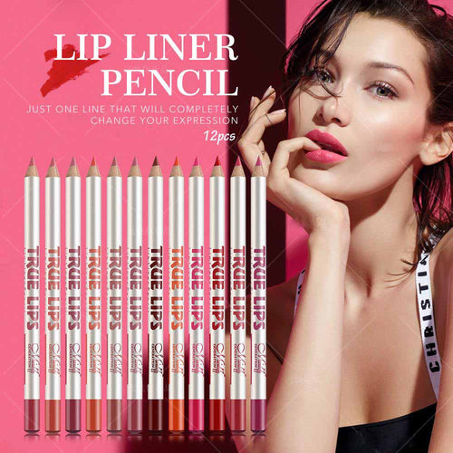 Trending 12 Pcs/set Cosmetic Professional Wood Lip liner Waterproof Lady Charming Soft Pencil Contour Makeup Lipstick Tool