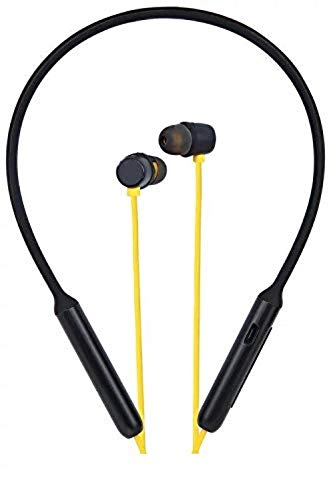 Nord Bluetooth Wireless Headphones with Deep Bass, IPX4 Sweat/Waterproof Neckband, Magnetic Earbuds, Voice Assistant, Noise Cancelation & Mic - (Black & Yellow)