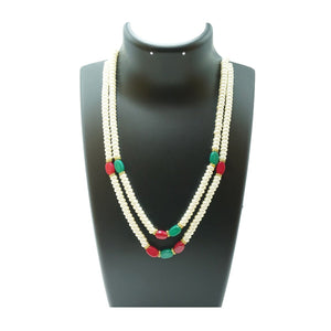 Top Quality New Stylish High Trending's Two Layer Pearl Set Of White Flat Round Pearl With Ruby And Emerald Together With Earrings Beautifully Crafted