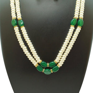 Top Quality New Stylish High Trending's Two Layer Pearl Set Of White Flat Round Pearl With Green Emerald Together With Earrings Beautifully Crafted