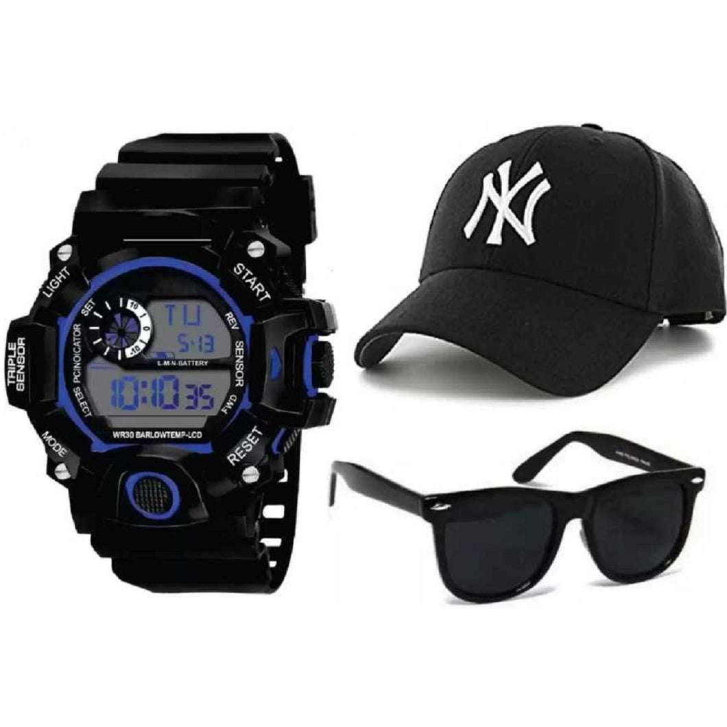 Fashion Waterproof Men's Boy Digital Stopwatch Date Rubber Sport Wrist Watch & Bases Solid Color Baseball Cap Snapback Caps Hats Fitted Casual Hats For Men Women Unisex Sunglasses Women Brand Designer Sun Glasses for Men Sunglass Female