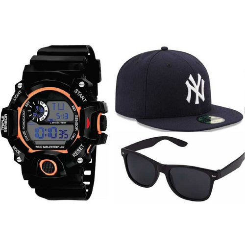 Fashion Waterproof Men's Boy Digital Stopwatch Date Rubber Sport Wrist Watch & Hip Hop Solid Color Baseball Cap Snapback Caps Hats Fitted Casual Hats For Men Women Unisex Sunglasses Women Brand Designer Sun Glasses for Men Sunglass Female