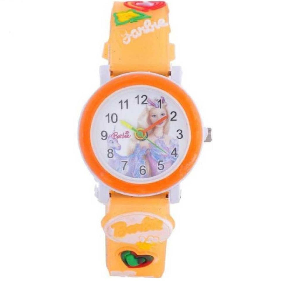 Trending Sale Top Quality Hot Selling Barbie Kids Orange Color Children's Wrist Watch for Kids and Girls