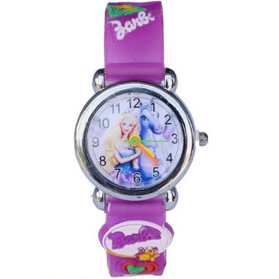 Trending Sale Top Quality Hot Selling Barbie Kids Purple Color Children's Wrist Watch for Kids and Girls