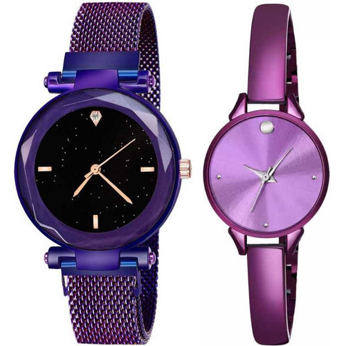 Top Quality Trending 2020 New Luxury Women Watches Fashion Magnet Buckle Purple Ladies Wristwatch Starry Sky Diamond Gift Quartz