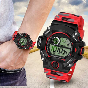 Best Quality Military Waterproof Sport Watch Digital Stopwatches For Men Watches {Red}