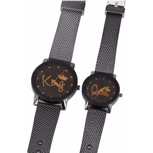 Trending High Quality Fashion King Queen Couple Printed Dial Analog Watch