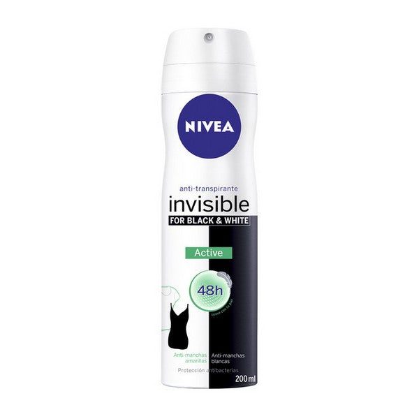Spray Deodorant Black & White Invisible Active Nivea (200 ml)
