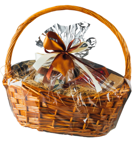 Cellophane wrapped Gift Basket with a brown bow.