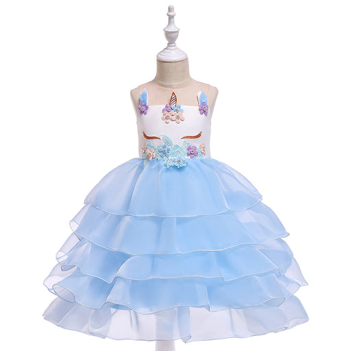 Layered Girls Unicorn Gauze Show Rainbow Boutique Dress Girl's Birthday Outfit