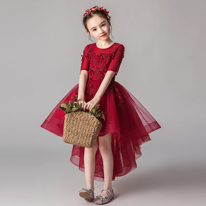 Piano Red Mesh Fairy Princess Fancy Flower Lace Boutique Dress Girl's Birthday Outfit