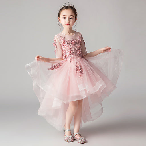 Piano Pink Mesh Fairy Princess Fancy Flower Lace Boutique Dress Girl's Birthday Outfit