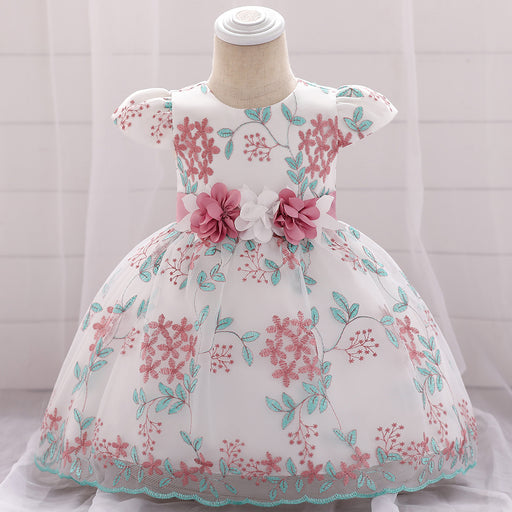 Little Girl Flower Soft Embroidery Party Fairy Baby Girl Birthday Dress