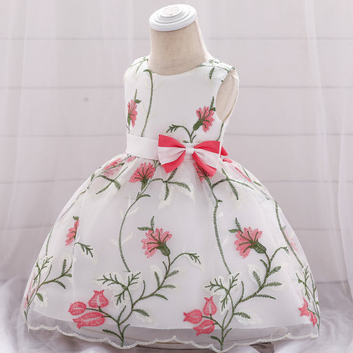 Little Flower Soft Embroidery Party Fancy Baby Girl Birthday Dress