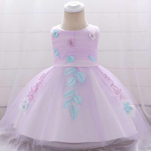 Flower Soft Embroidery Party Fancy Baby Girl Birthday Dress