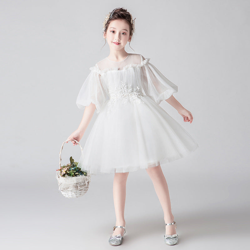 Elegant White Wedding Girl Fairy Princess Fancy Flower Lace Boutique Dress Girl's Birthday Outfit