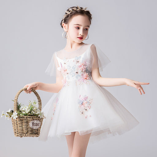 Little Bride Fairy Princess Fancy Flower Lace Boutique Dress Girl's Birthday Outfit