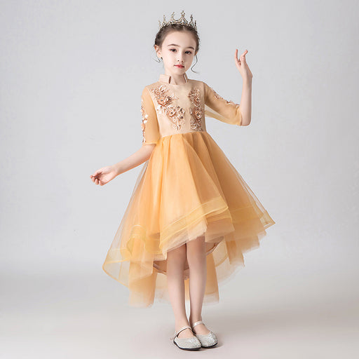 Elegant Yellow Fairy Princess Fancy Flower Lace Boutique Dress Girl's Birthday Outfit