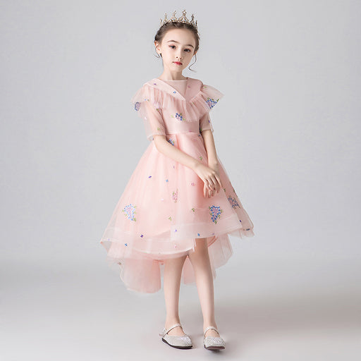 Elegant Pink Fairy Princess Fancy Flower Lace Boutique Dress Girl's Birthday Outfit