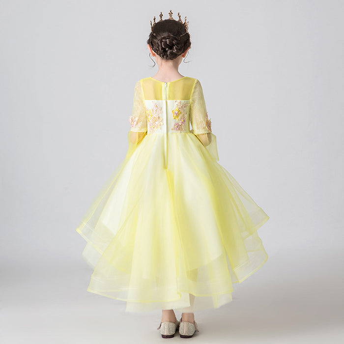 Yellow Fairy Princess Fancy Flower Lace Boutique Dress Girl's Birthday Outfit