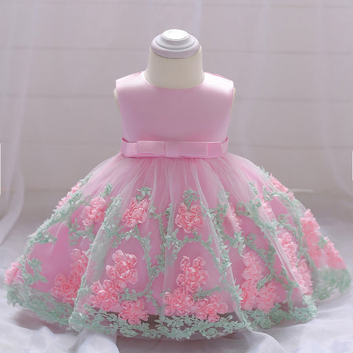 Little Baby Flower Fluffy Dress Girl's Birthday Outfit