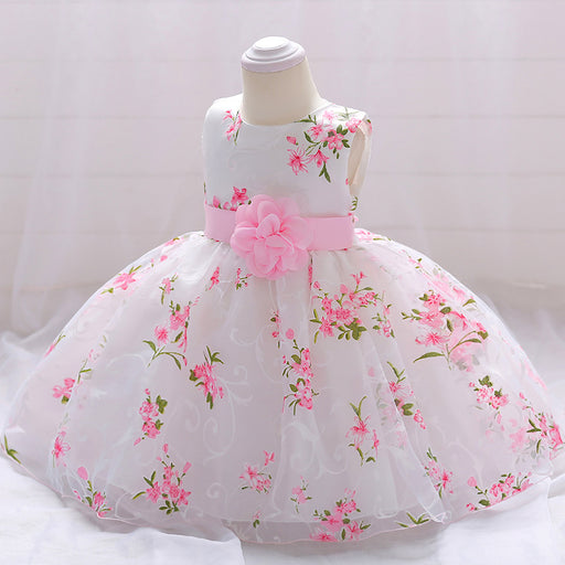 Little Girl Flower Soft Embroidery Party Fancy Baby Girl Birthday Dress