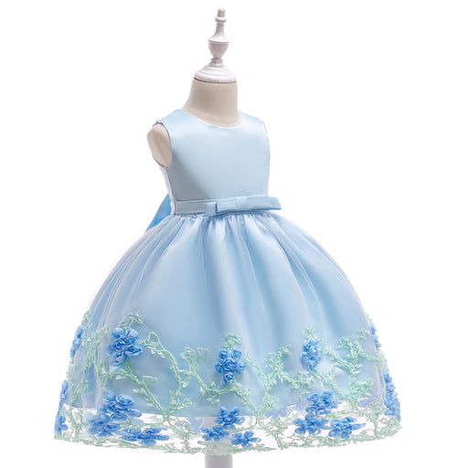 Blue Little Baby Flower Dress Girl's Birthday Outfit