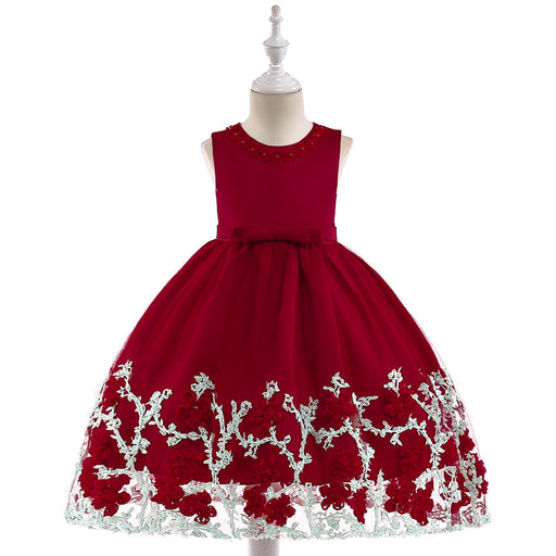 Red Little Baby Flower Dress Girl's Birthday Outfit