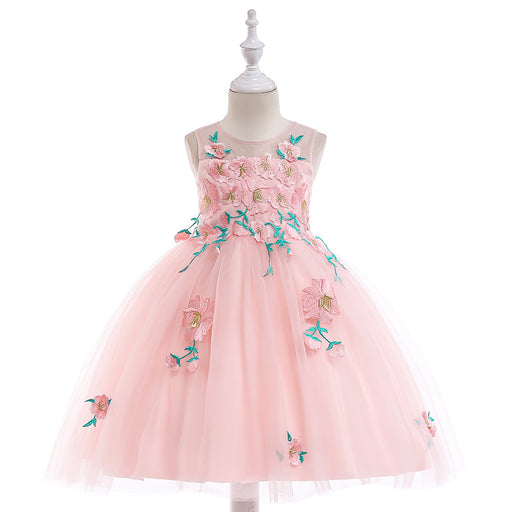 Pink Floral Colorful Mesh  Embroidery Flower Dress Girl's Birthday Outfit