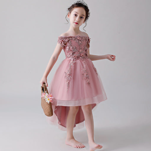 Pink Princess  Flower Lace Boutique Dress Girl's Birthday Outfit