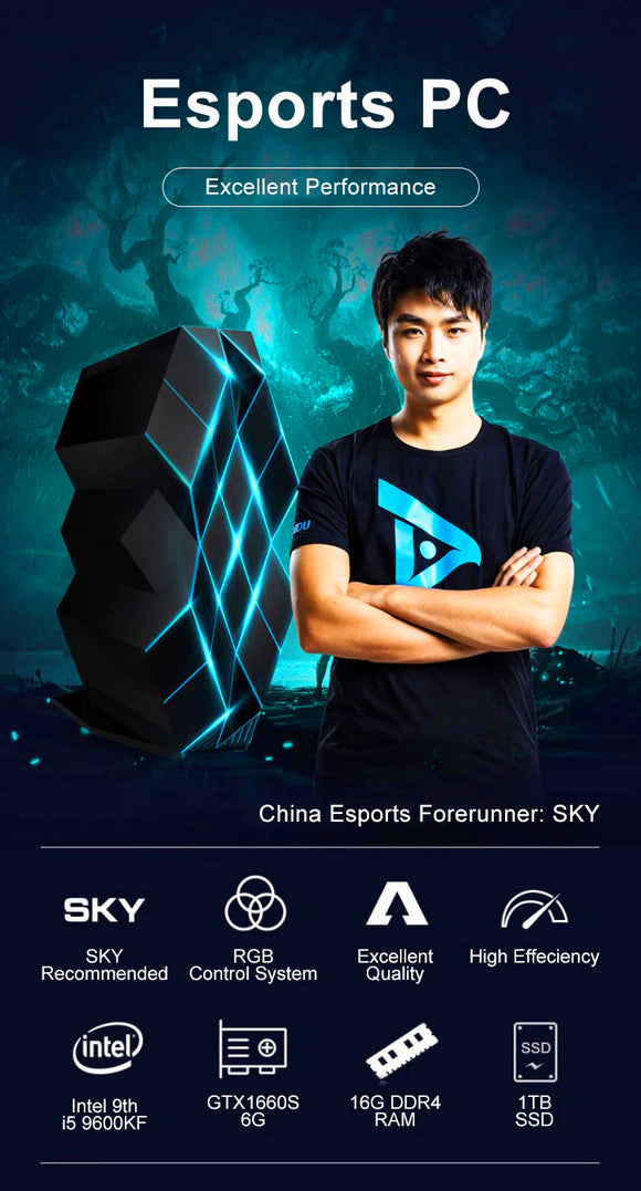 Black Crystal Gaming Desktop Computer | 9th i5 9600KF | GTX1660S | IPASON | SKY Li Xiofeng Signature