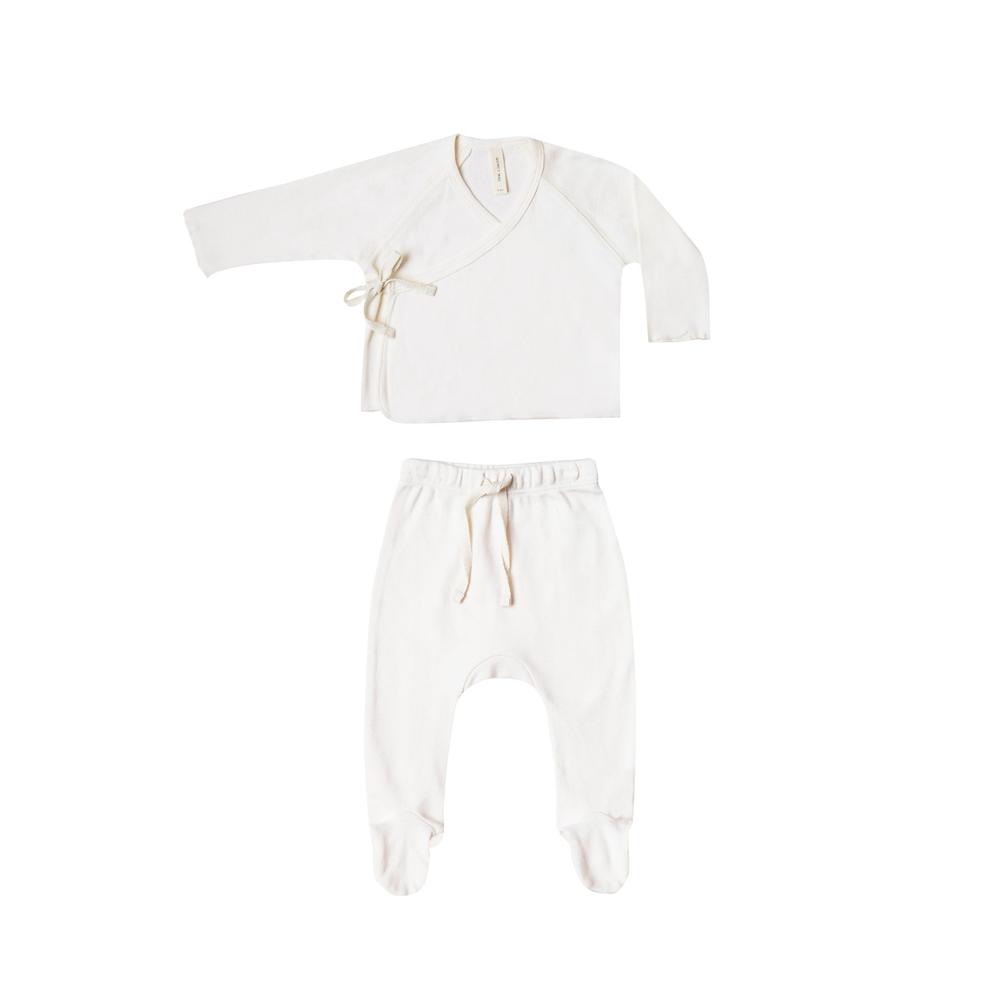 Rylee and Cru (Quincey Mae) 0-3 months white Kimono top footed pants set | Ivory two piece set