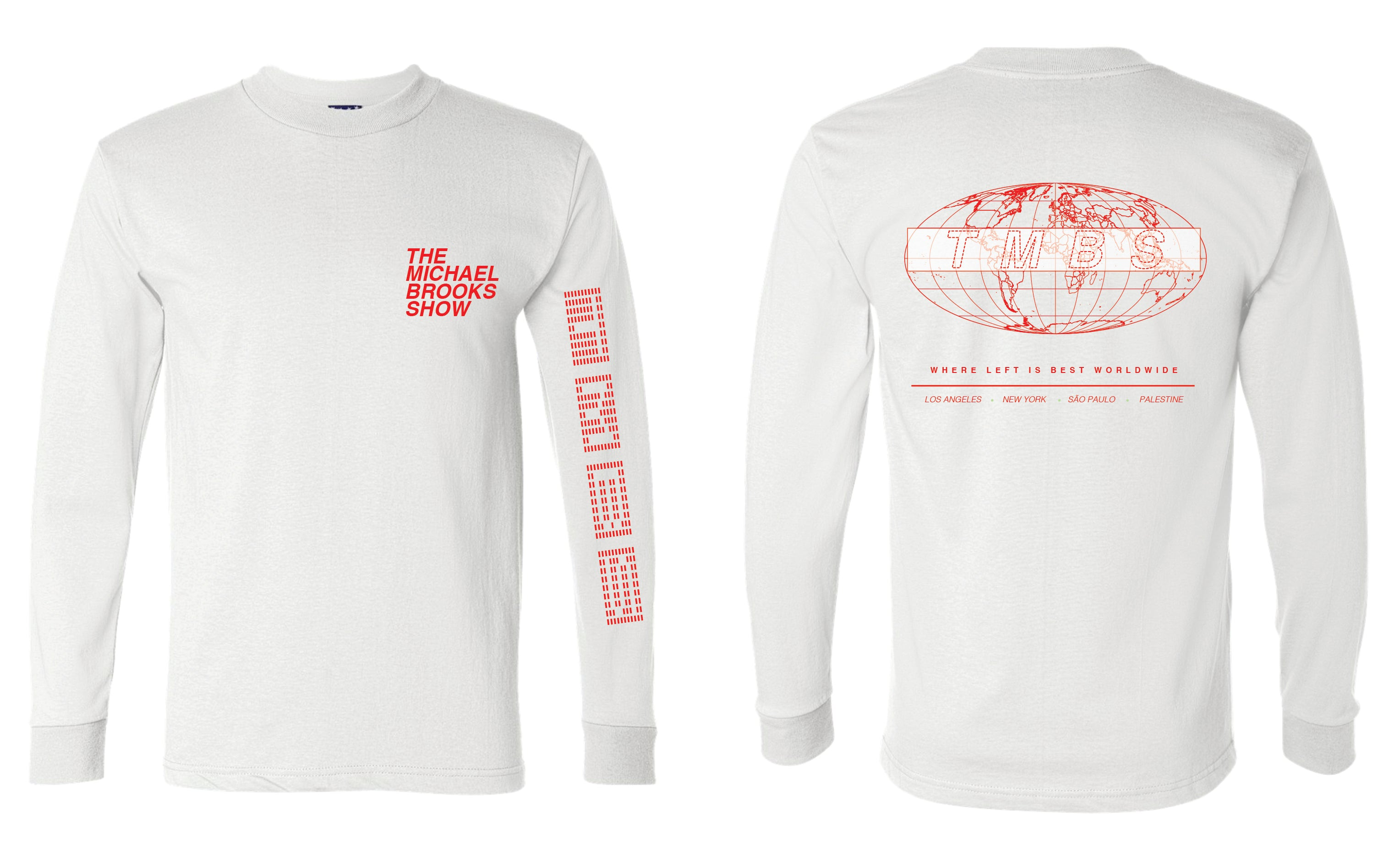 TMBS WORLDWIDE - WHITE LONG SLEEVE TEE