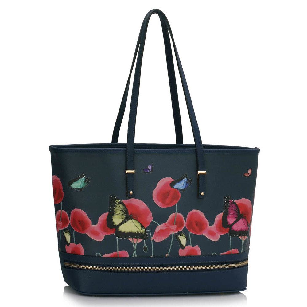 Poppies and Butterflies Large Tote Bag