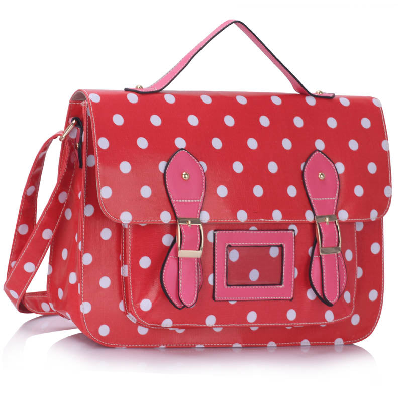 Retro Red and Pink Polka Dot Satchel