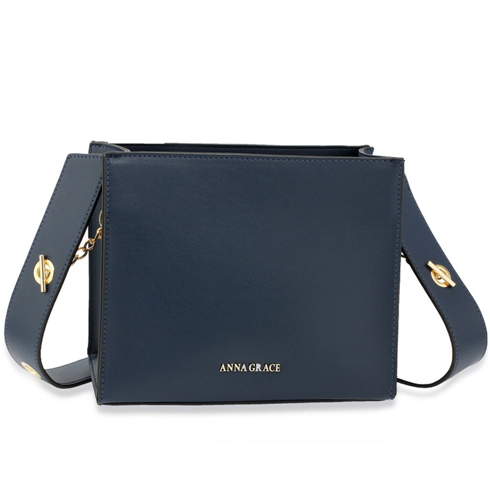 SMALL NAVY TOTE WITH TOGGLE CLASP STRAP