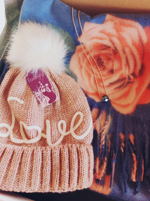 """Love"" embroidered pom-pom hat"
