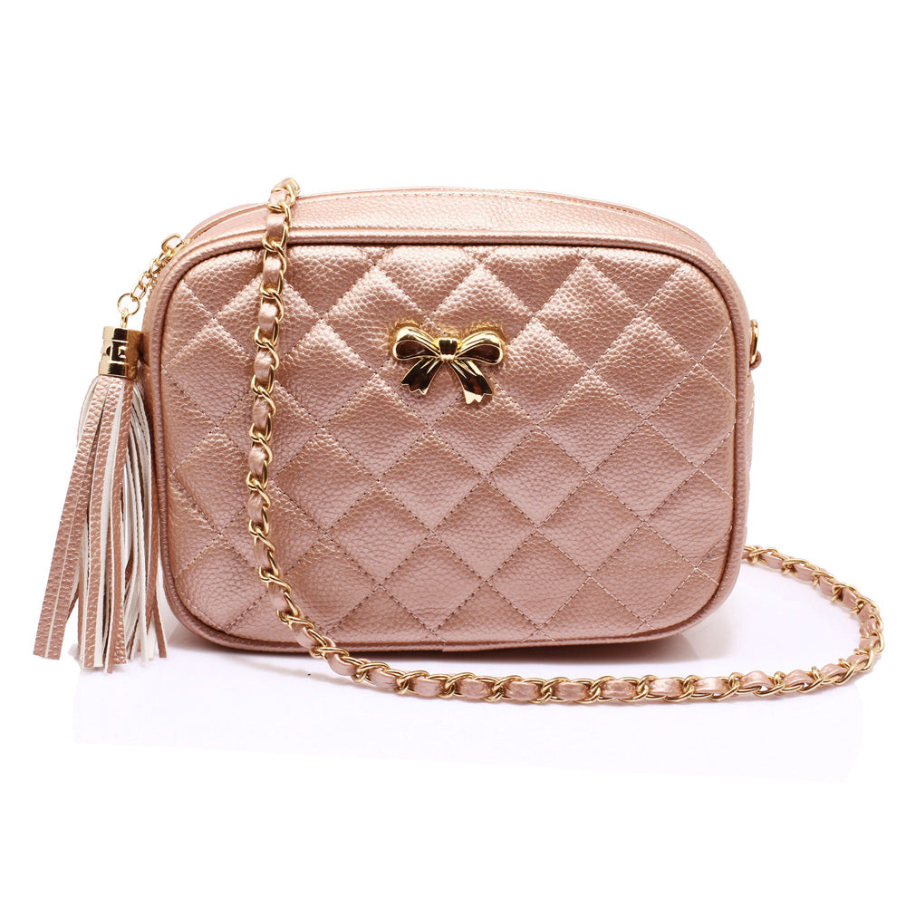 Pink Champagne Quilted cross body bag with tassel & bow features