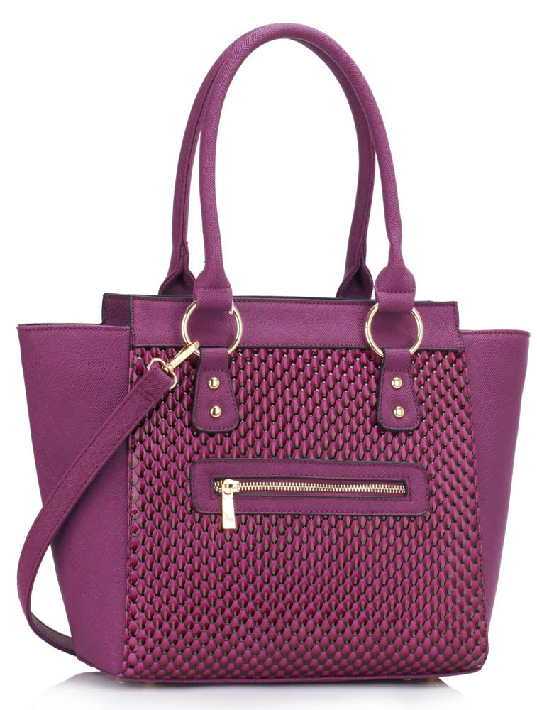 BRIGHT PURPLE WOVEN TOTE BAG WITH SILVER DETAIL