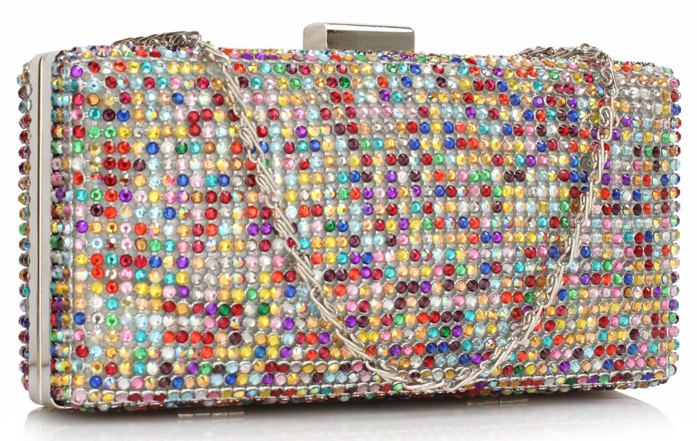 STRUCTUED SPARKLY GEMSTONE CLUTCH