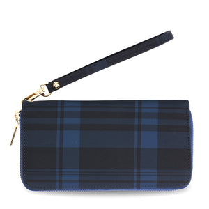 NAVY TARTAN PURSE WITH WRIST STRAP
